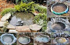 Reuse an old tractor tire to make a pond!