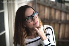 Lauren Brain of The Cut and Paste creates a personalized curated glasses collection with ClearlyContacts.ca - she is wearing Derek Cardigan 7028 Black glasses.