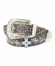 Loving this Black & Blue Crystal Leather Belt on #zulily! #zulilyfinds