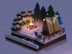 Winter Camping designed by Minyoung Lee. Modelos Low Poly, Modelos 3d, Isometric Art, Isometric Design, 3d Design, Game Design, 3d Modellierung, Cube World, Low Poly Games