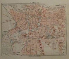 1896 LEIPZIG DEUTSCHLAND alte Landkarte Stadtplan Antique City Map Lithographie