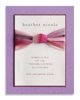 Amethyst Ophelia Silk Ribbon Birth Announcement by Luscious Verde