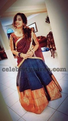 Exclusive Collection of Indian Celebrity Sarees and Designer Blouses Half Saree Lehenga, Kids Lehenga, Saree Dress, Sari, Half Saree Designs, Lehenga Designs, Saree Blouse Patterns, Saree Blouse Designs, Dress Designs