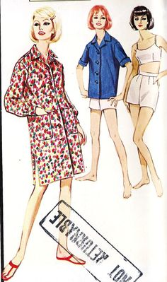 1960s Summer Sports Separates Beach cover Up
