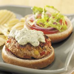 Turkey Burgers with Avocado Sauce Turkey Burgers with Avocado Sauce Recipe from Taste of Home -- shared by Jan Warren of Clemmons, North Carolina Burger Recipes, Sauce Recipes, Cooking Recipes, Healthy Recipes, Yummy Recipes, Cooking Tips, Good Food, Yummy Food, Tasty