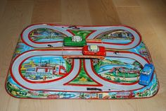 1960s Highway Viaduct track tin toy by Ohio Art