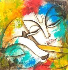 Lord Ganesha Paintings, Krishna Painting, Krishna Art, Baby Krishna, Radhe Krishna, Lord Krishna, Kerala Mural Painting, Art Painting Gallery, Indian Art Paintings