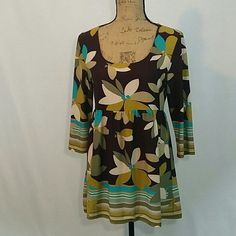 """Multi-color Karen Arnold Top (M) Brown, aqua, tan & green top / 3/4 sleeves with rounded neckline / 97% polyester/ 3% spandex / top length 29"""" / sleeve 17.5""""  This fun top is in excellent condition with no signs of wear or staining Karen Arnold Tops Tunics"""