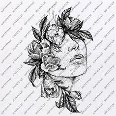 Unique Tattoos, Small Tattoos, Sketches Of Girls Faces, Silhouette Tattoos, Girls With Flowers, Aesthetic Drawing, Green Art, Woman Drawing, Sketch Girl Face