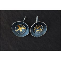 Double cup earrings in oxidised silver and fine gold. www.wyckoffsmith.com