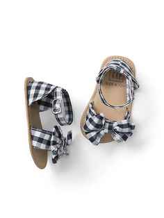 gingham bow sandal