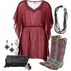 """Something In Red"" by rodeo-chic on Polyvore, Boots by @oldgringoboots, Iguana clutch by @doublejsaddlery"