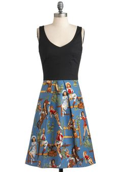Stirrup the Party Dress, #ModCloth ($97.99) love the fabric could be made into a skirt (and then wear a t-shirt or tank)