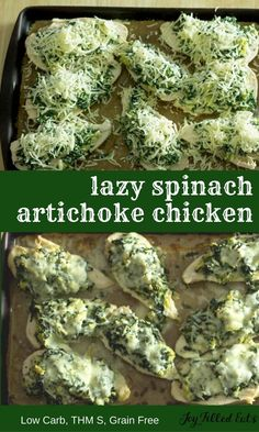 These chicken breasts topped with spinach artichokes & 3 cheeses are low carb grain free gluten free THM S. They are easy on prep but big on flavor. My Lazy Spinach Artichoke Chicken Breasts are easy to prep but big on flavor. They are low carb grai Carb Free Recipes, Thm Recipes, Chicken Recipes, Cooking Recipes, Healthy Recipes, Carb Free Foods, Carb Free Meals, Easy Low Carb Meals, Recipies