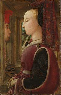 Filippo Lippi - potret van een vrouw en een man bij een open venster. vroege renaissance. ca 1440. tempera op paneel