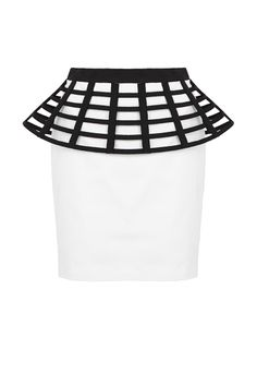 MUCH ADORED - fitted mini skirt with bell shaped petersham lattice cage that created a 3D dimensions. features side zip closure and is full lined.