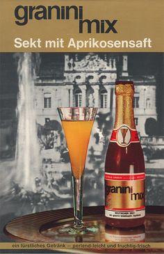 1970 | granini mixt Trinkgenuss und Sekt – Das weiß heute kaum jemand mehr: Früher gab es von granini auch Sekt gemischt mit Aprikosensaft – ähnlich dem beliebten Cocktail Bellini.