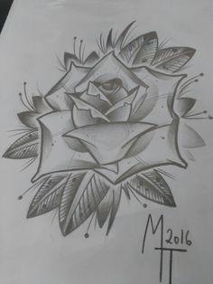 Drawing Flowers & Mandala in Ink - Pencil Sketches Easy, Pencil Sketch Drawing, Flower Sketches, Art Drawings Sketches Simple, Pencil Art Drawings, Love Drawings, Drawing Flowers, Rose Drawing Tattoo, Tattoo Design Drawings