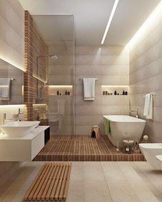 Salle de bain moderne - bois et blanche, éclairage Led, vasque et douche à l'italienne