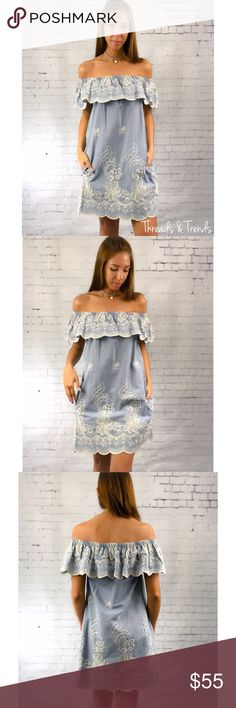 Embroidered Denim Dress Incredibly beautiful off shoulder denim dress. Featuring the hot trending embroidery detail and a scalloped hemline. Made of a high quality cotton. Size S, M, L price is firm unless bundled. Threads & Trends Dresses
