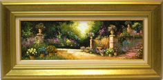 Salinas : Gardens. Medium: Oil on canvas Measurements (cm): 79x39 Canvas measurements (cm): 60x20 Interior frame: Yes. Impressionist painting which shows us the qualities of this painter, his extensive colour palette and his good taste. A very decorative picture with an excellent quality-price.  $ 401.56