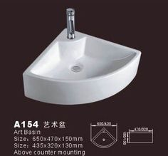 Product Name:Corner Sink  Model No.: DB-A154 Dimension:650X470X150mm/435 X320X130mm   (1 inch = 25.4 mm) Volume:0.061 CBM/ 0.026CBM Gross Weight:11 KGS / 9KGS   (1 KG ≈ 2.2 LBS) Sink shape: Flabellate
