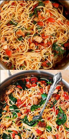 Chicken Spinach Recipes, Chicken Spaghetti Recipes, Spinach Stuffed Chicken, Healthy Chicken Recipes, Pasta Recipes, Beef Recipes, Vegetarian Recipes, Dinner Recipes, Cooking Recipes