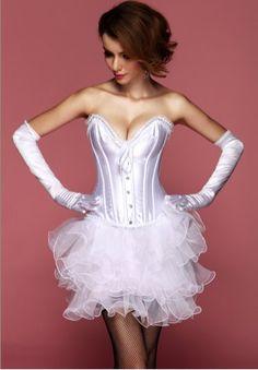 Strapless Lace Trim Burlesque Bridal Corset - AM2794W - houseofsashlingerie.com