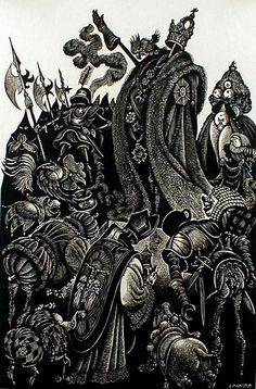 The Follies of the Court (from: In Praise of Folly Portfolio of 10 woodcuts) by Fritz Eichenberg