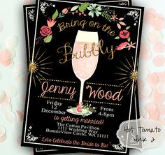 Bridal Shower Invitation-Pink Champagne Bubbly by Hottomatoink2