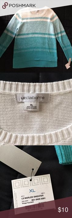 NWT Liz Claiborne blue marbled sweater New with tags Liz Claiborne sweater. Hi/lo hem. Teal and white heathered strips. See pics for measurements.   Clean and smoke free home. Please see my closet for more new and gently used items. Liz Claiborne Sweaters Crew & Scoop Necks