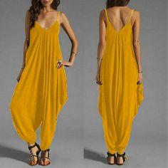 Plus Size Spaghetti Straps Loose Plain Wide Leg Jumpsuit Yellow