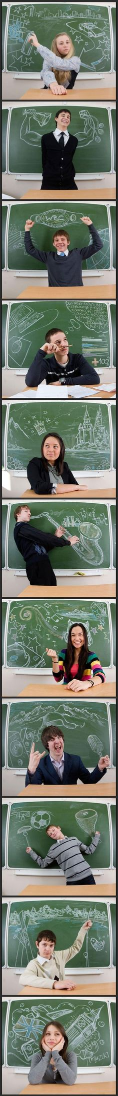 Gotta do this with my 8th graders at the end of the year. They can design their background on paper, use the document camera to transfer it to chalkboard.