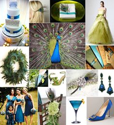 Peacock colors wedding board of inspiration.