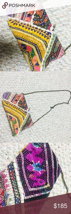 Hand stitched Boho Crossbody Gorgeous colors, never used. Clasp on top. Great quality and weight. Chain cross body. Hand stitched. Amazing colors! Perfect bag for summer and spring Anthropologie Bags Crossbody Bags