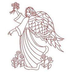 Redwork Floral Angel embroidery design