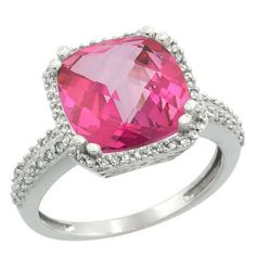 10k White Gold Diamond Halo Pink Topaz Ring Checkerboard Cushion 11 mm 5.85 ct 1/2 inch wide, sizes 5-10