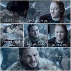 It's so sweet too see Jon being treated like family. ❤️ . Sansa Stark and Jon snow