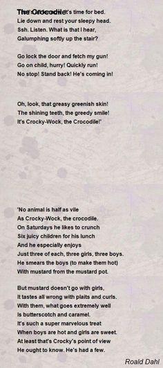 The Crocodile Poem By Roald Dahl Hunter