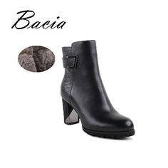 Find More Women's Boots Information about Bacia High Heels Ankle Boots Long Plush Warm Winter Boots Handmade Genuien…