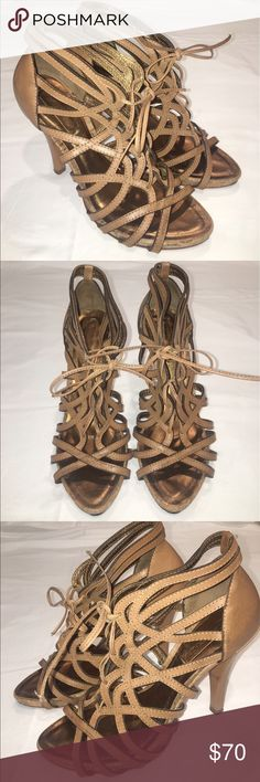 Bcbgmaxazria strappy beige heels size 7.5 Worn once, in really good condition. The only signs of wear are on the bottoms/heels of the shoes. BCBGMaxAzria Shoes Sandals