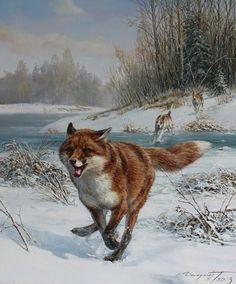 Danchurova, Tatiana (b,1969)- Fox Running from Hounds