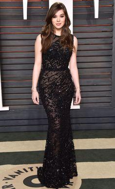 Hailey Steinfeld in Elie Saab at the Vanity Fair Oscar party.