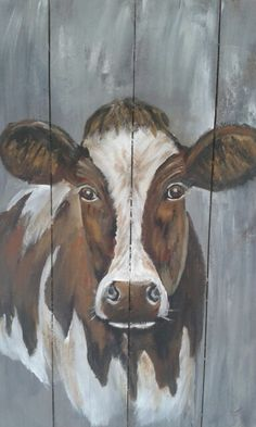 Koe Neeltje op hout Cow Painting, Painting & Drawing, Cow Canvas, Canvas Art, Animal Paintings, Animal Drawings, Cow Drawing, Cow Pictures, Farm Art