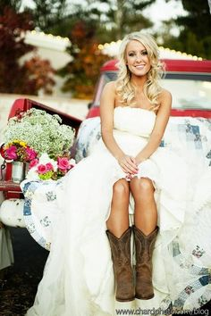 Country Wedding Dresses With Boots | Photo Inspiration of the Day: Country Bride In Brown Cowgirl Boots ...