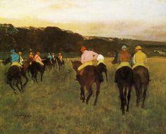 Edgar Degas, 'Race horses at Longchamp', 1874 / arte, pintura, impresionismo, caballos, hombres, masculinidad