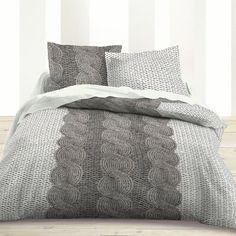 Parure housse de couette 220x240cm + taies 100% coton gris motif tricot CHALET Deco Studio, Manta Crochet, Pink Room, Decoration, Bedding Sets, Comforters, Sweet Home, Blanket, Inspiration