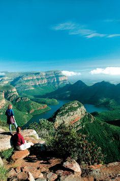 On the edge of Blyde River Canyon on the Panorama Route to Mpumalanga, South Africa.