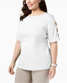 6cdd3875 Karen Scott Plus Size Cotton Cutout-Sleeve T-Shirt, Created for Macy's &  Reviews - Tops - Plus Sizes - Macy's