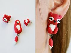 (notitle) - Diy Fimo - - jewelry and accessories - Schmuck Diy Fimo, Cute Polymer Clay, Polymer Clay Animals, Fimo Clay, Polymer Clay Charms, Polymer Clay Earrings, Baby Earrings, Animal Earrings, Plugs Earrings